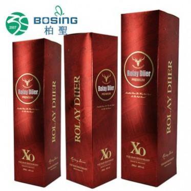 厂家定做 白卡纸质烫金红色彩印红酒包装盒xo洋酒白兰地纸盒定制