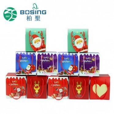厂家定制 精美手提正方形折叠苹果糖果圣诞包装盒圣诞节礼品盒子