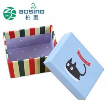 厂家定做 简约儿童卡通创意彩色天地盖饰品纸盒子首饰包装盒定做
