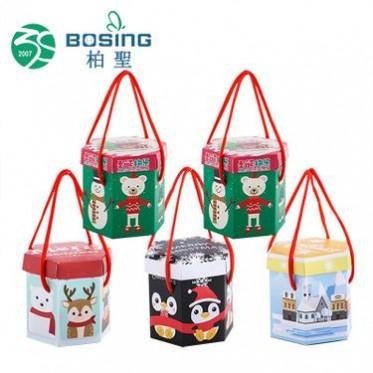 专业定制 手提纸质天地盖六角精美平安夜圣诞礼品包装盒苹果礼盒