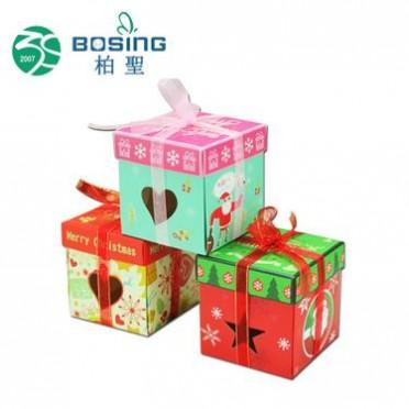 厂家定做 正方形手提开窗蝴蝶结圣诞节日礼物盒圣诞礼品盒苹果纸