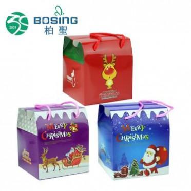 厂家定做 手提正方形彩印圣诞老人苹果礼品盒圣诞节礼盒包装盒子